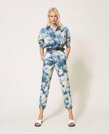 Pantalon taille haute tie & dye Tie Dye Blanc «Neige» / Bleu Femme 211TT2542-0T