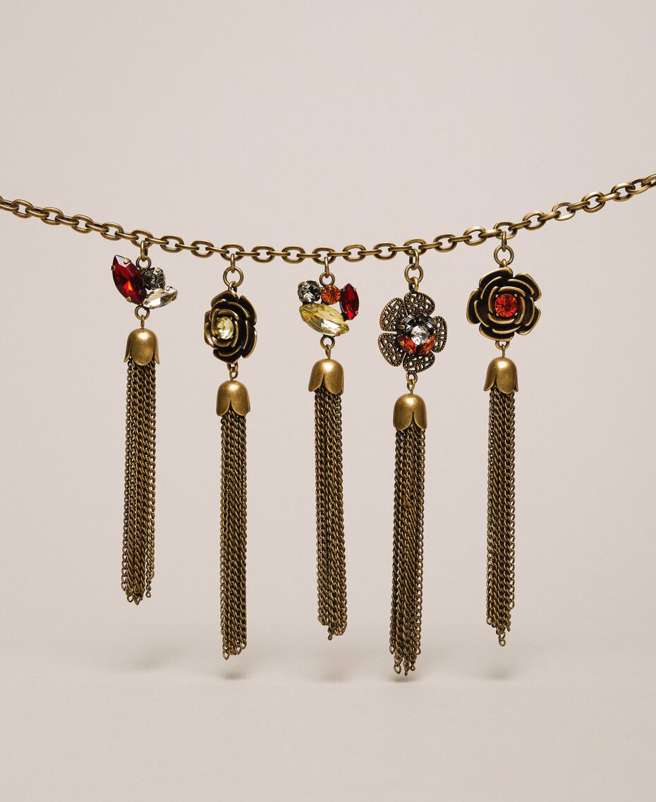 "Necklace with floral pendants and tassels ""Aged Coppery Brass"" Gold Woman 201TA430M-02"