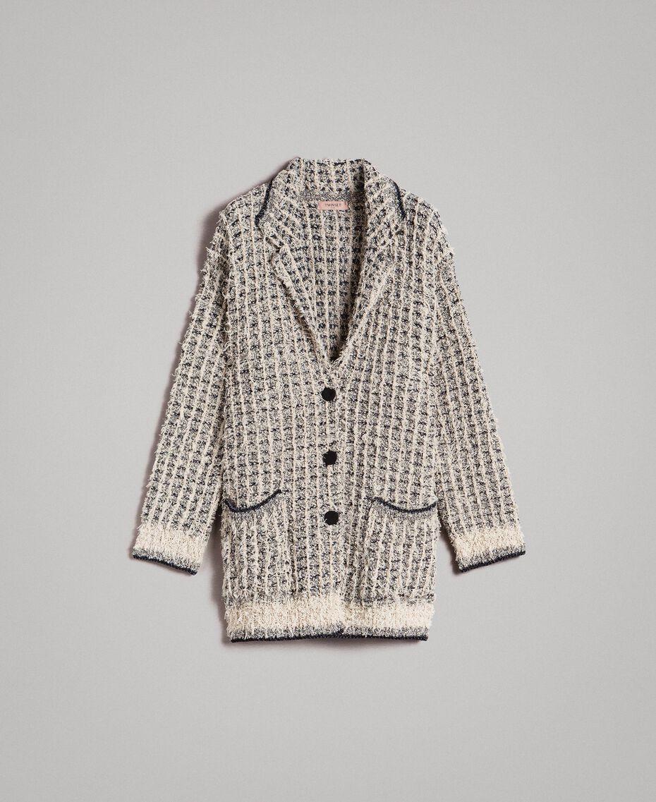 Lurex yarn maxi mandarin collar cardigan Two-tone Ecru Vrillé Woman 191TP3321-0S