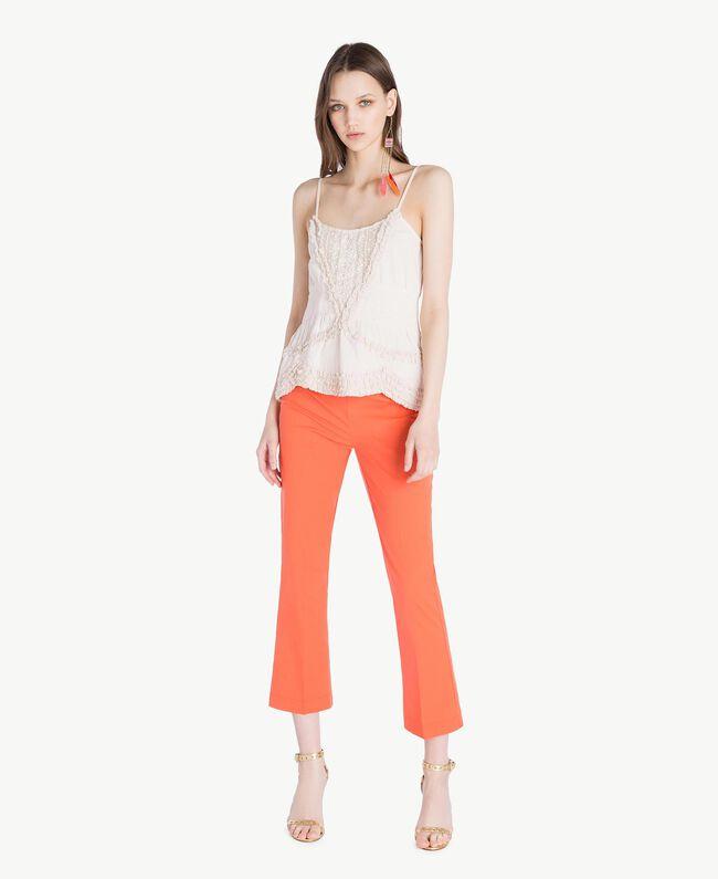 Poplin flared trousers Orange Woman TS8212-05