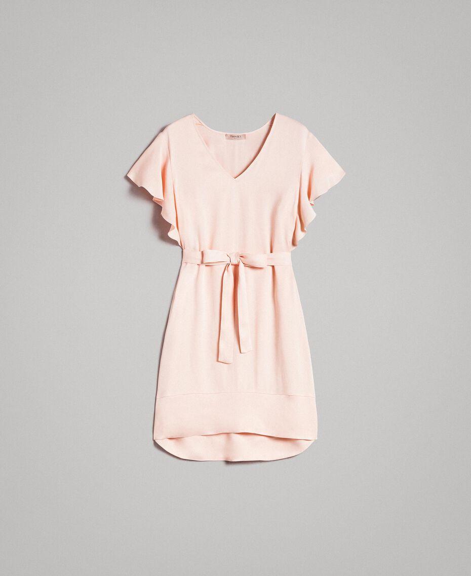 "Satin dress with belt ""Rose Sand"" Pink Woman 191TT2450-0S"