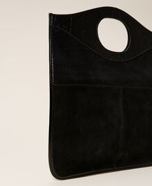 Folded leather clutch Black Woman 212TB7171-02