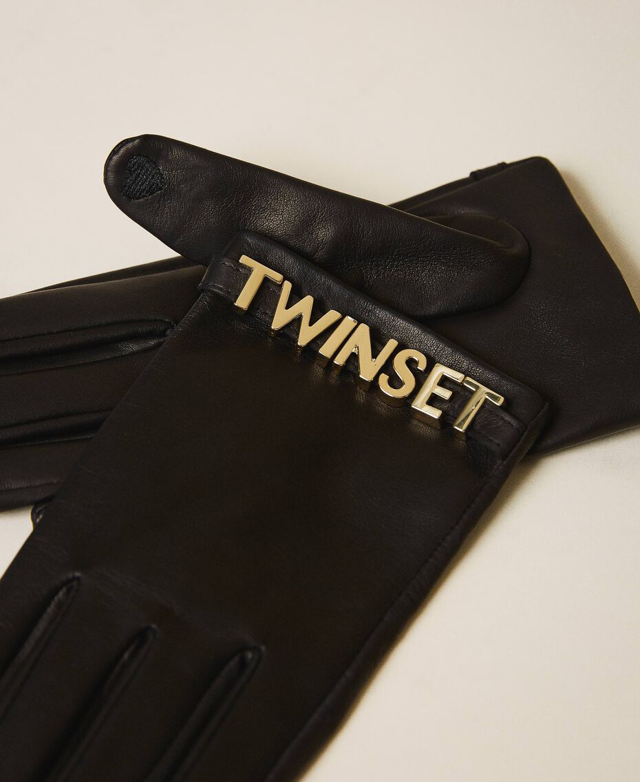 Leather gloves with logo Black Woman 202TA4353-02