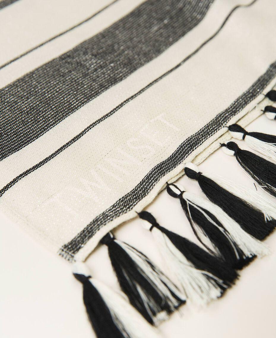 "Jacquard striped scarf ""Snow"" White / Black Multistripe Woman 211TO5045-02"
