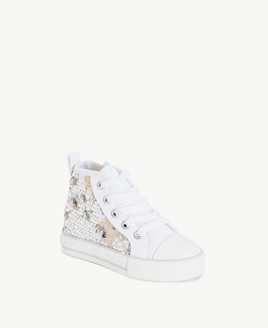 Sequin sneakers Silver Child HS86C1-02