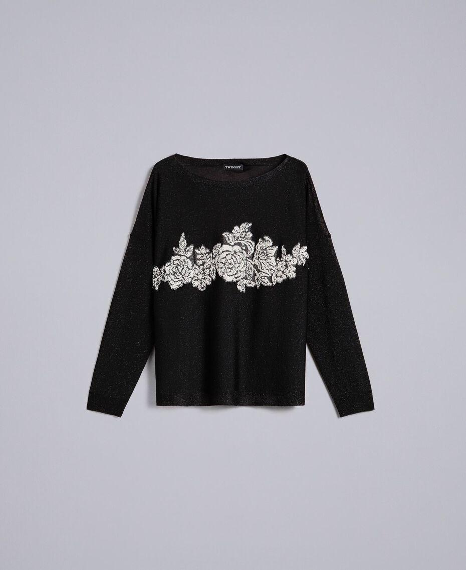Pullover aus Lurex mit Blumenintarsie Lurex Schwarz Frau PA836Q-0S
