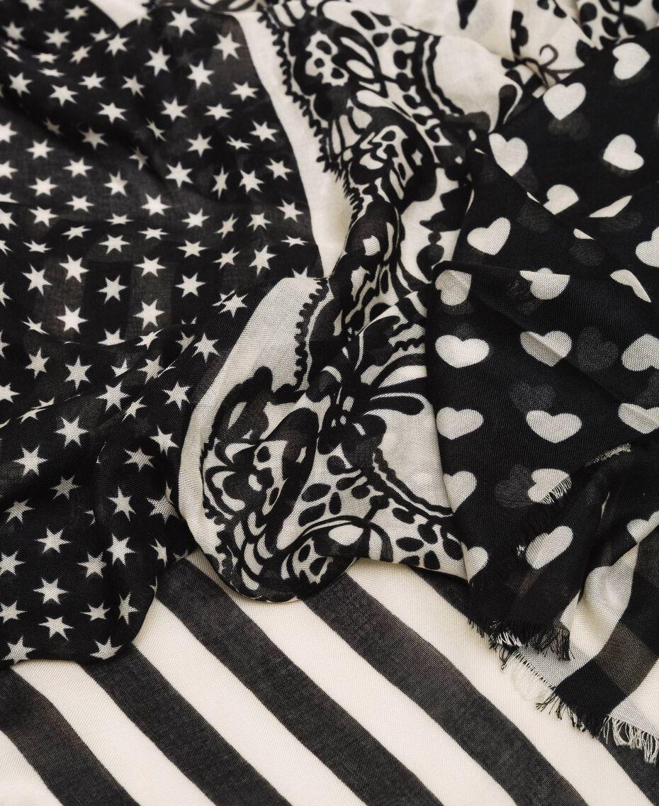 """Двухцветная набивная куфия Принт Микс Розовый Лаванда / Бежевый """"Веревка"""" женщина 201TA4369-02"""