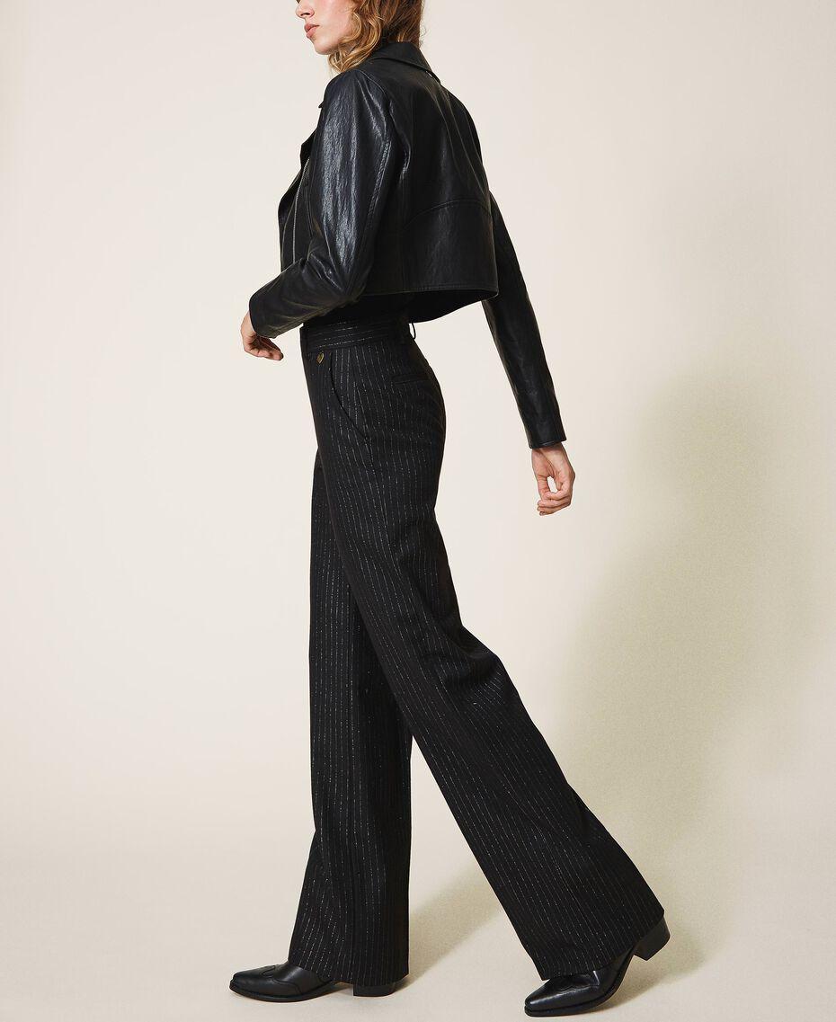 Pantalon ample en laine mélangée Rayé Noir / Or «Lurex» Femme 202TT2171-02