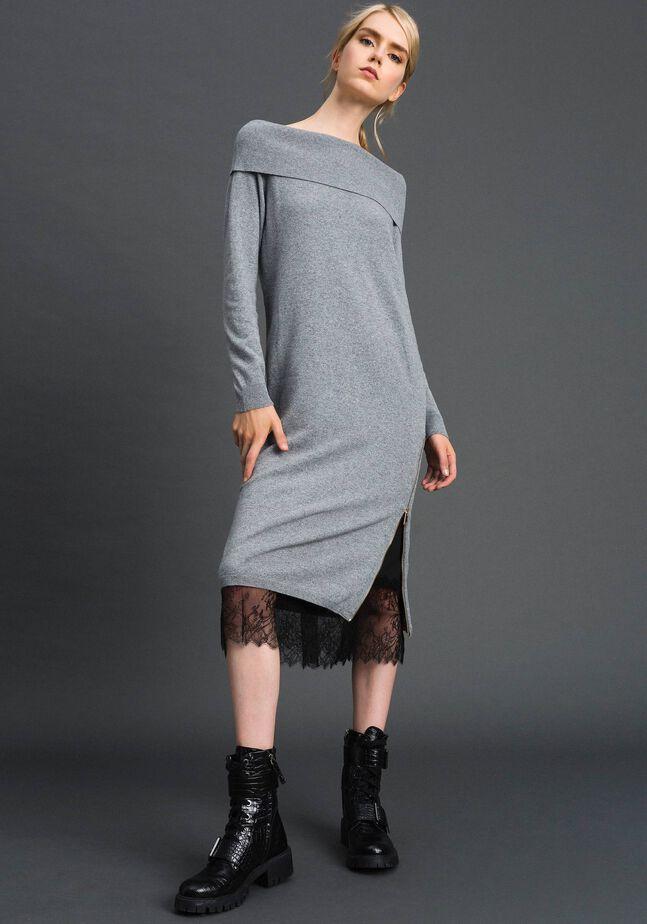 Robe en cachemire mélangé avec fonde robe en dentelle