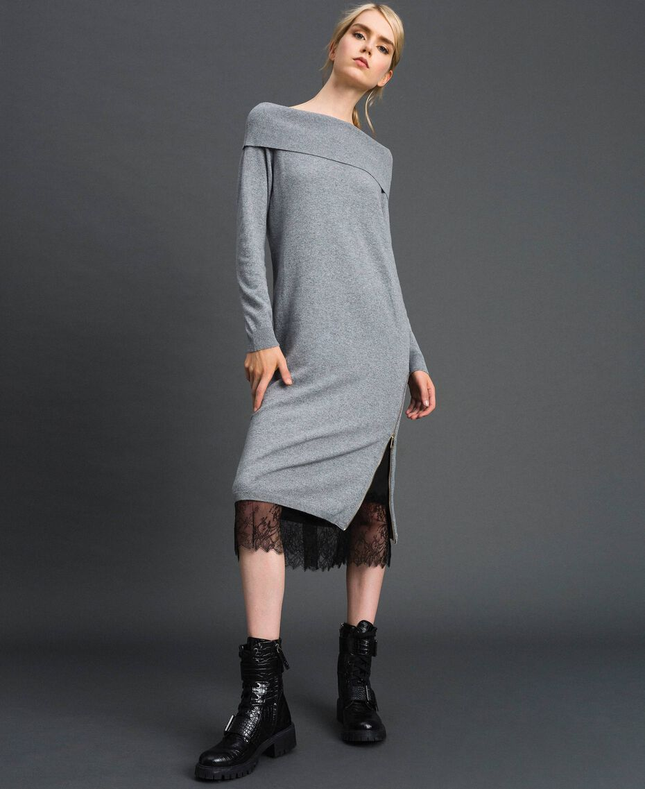 Cashmere blend dress and slip with lace Medium Melange Grey / Black Woman 192TT3091-01