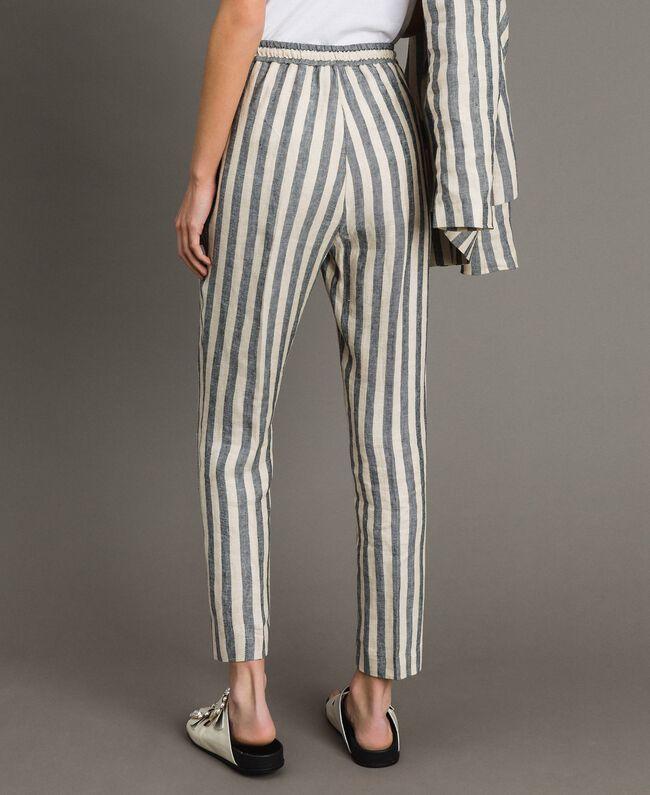 "Two-tone striped linen trousers Two-tone Black / ""Marzipan"" Beige Woman 191TT2314-04"