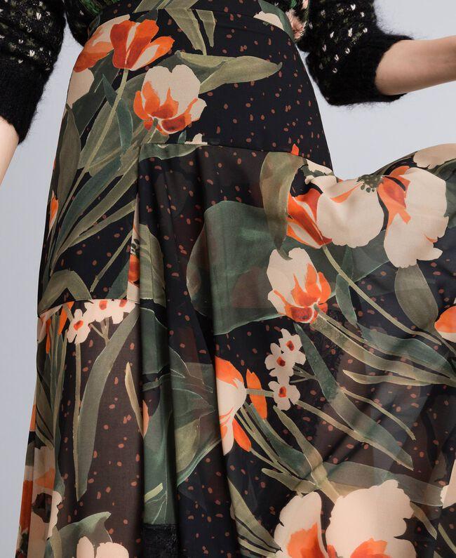 Chiffon long skirt with floral print Maxi Black Tulip Print Woman TA825V-04