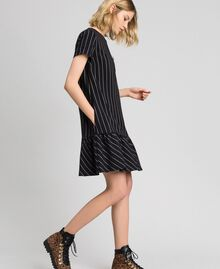 Pinstripe dress with flounce Black / Lily Pinstripe Woman 192MP2062-02