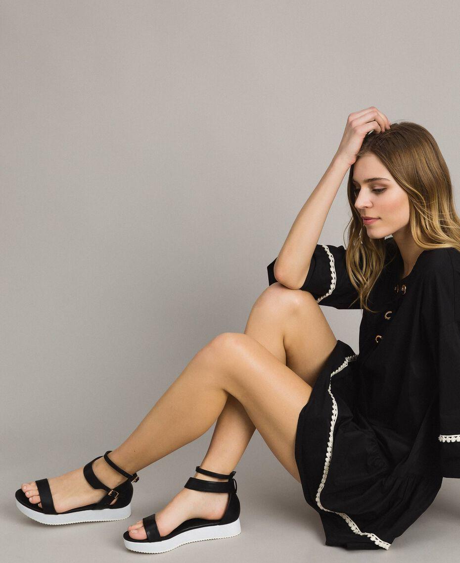 Sandales à plateforme avec lanière Noir Femme 191LL49FF-0S