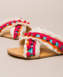 Weaved slippers with pompom and fringe Multicolour Woman 201LMPZUU-04