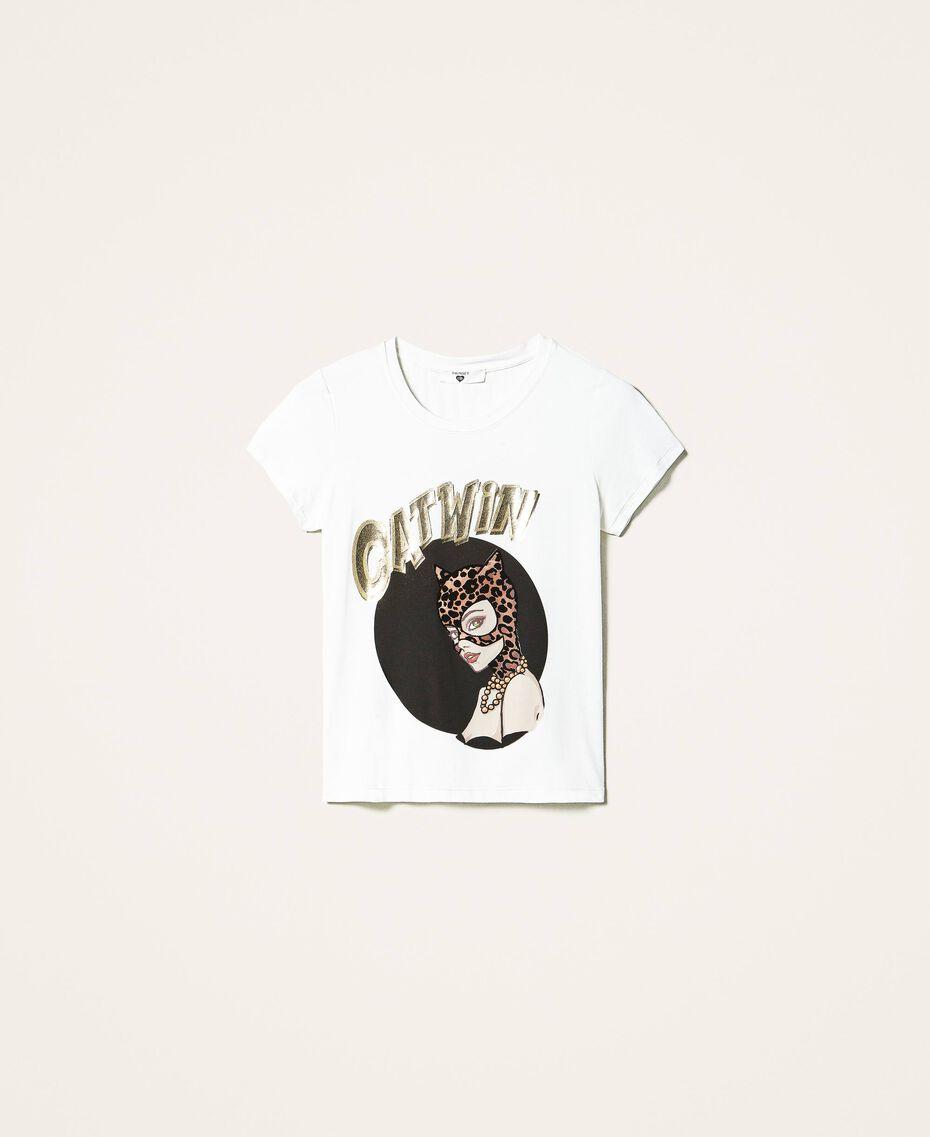 Camiseta con estampado Marfil Mujer 202LL2MCC-0S