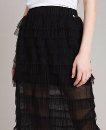 Long jupe plissée à volants Noir Femme 191MP2232-04