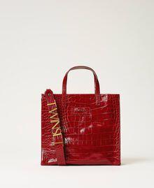 Medium leather Twinset Bag shopper Black Crocodile Print Woman 202TB7113-01