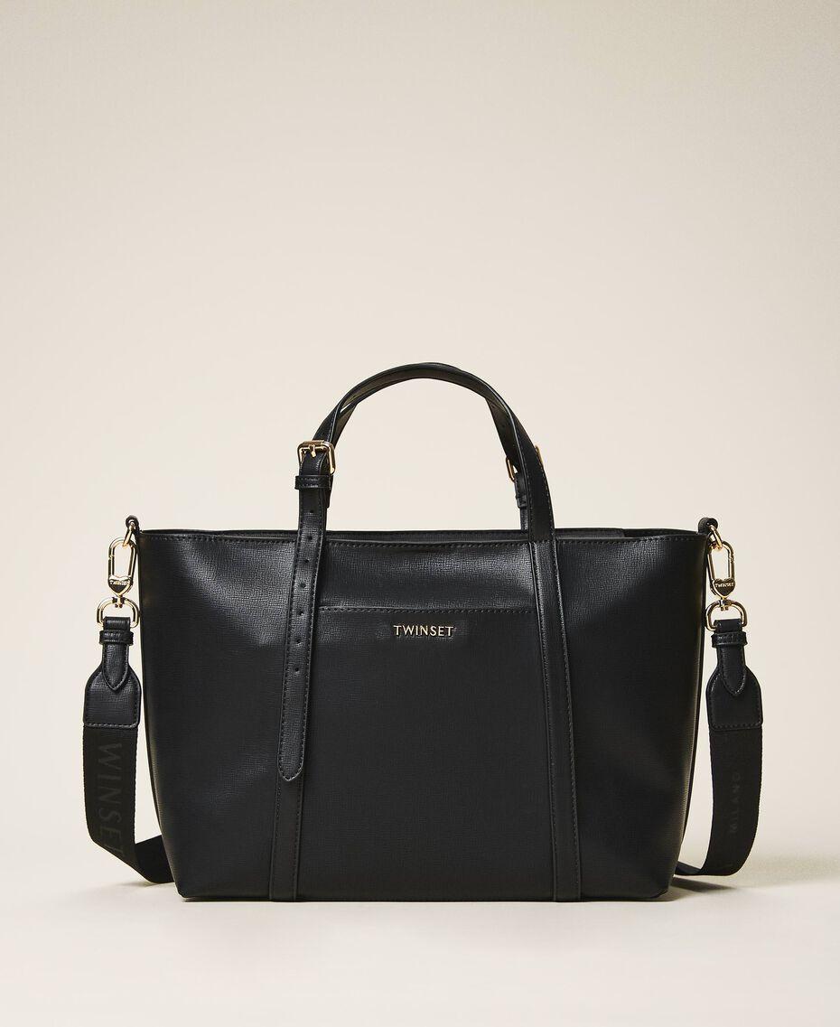 Faux leather shopping bag Black Woman 202TD8110-01