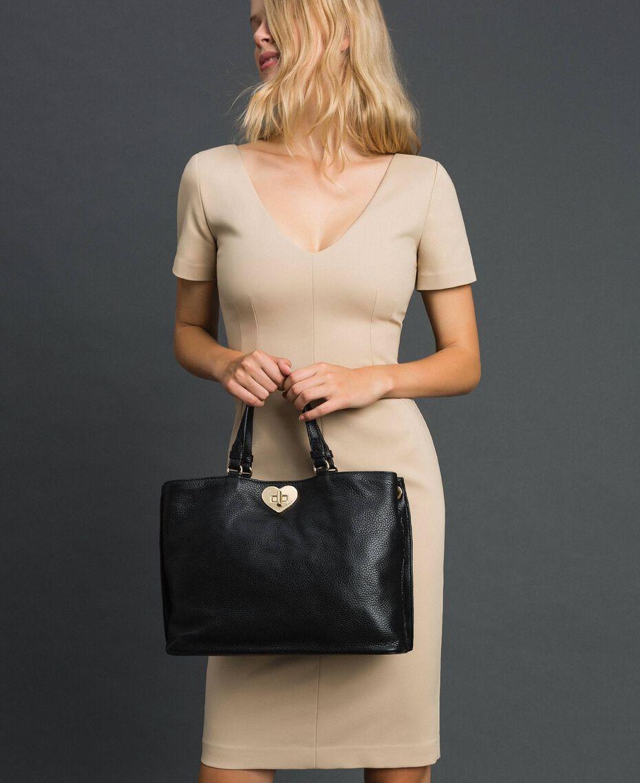 Petit cabas en cuir à bandoulière Noir Femme 192TO8091-0S