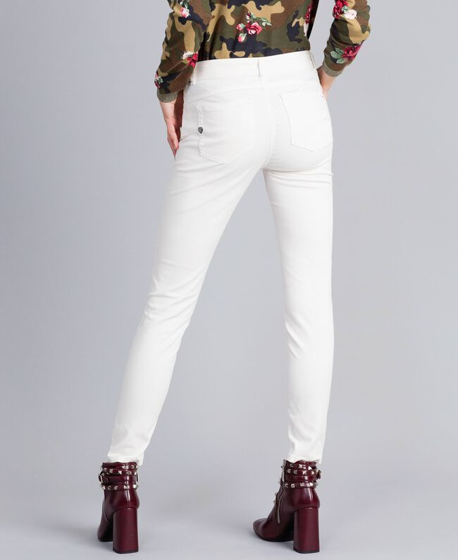Pantaloni skinny in gabardine stretch Madreperla Donna JA82W1-03