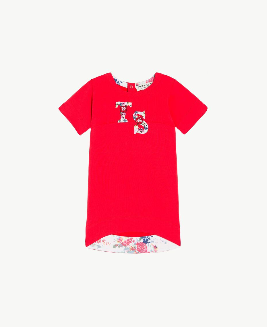 Logo dress Two-tone Pomegranate Red / Chantilly Flowers Child FS82SQ-01