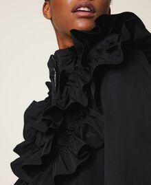 Taffeta puffer jacket with ruffles Black Woman 202ST2100-06