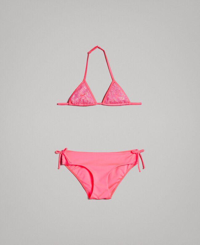 Triangle bikini with rhinestones Fluorescent Pink Child 191GJM904-01