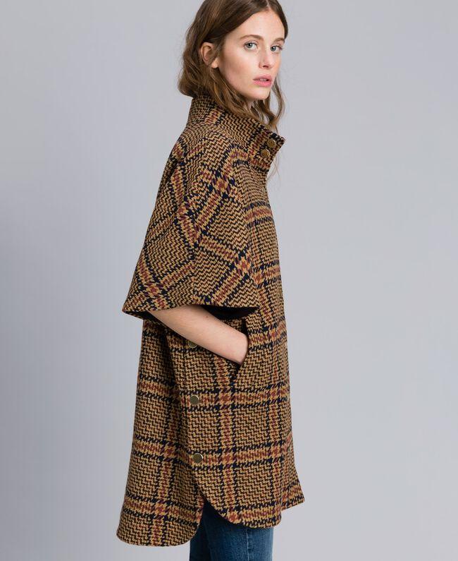 Manteau poncho à grands carreaux Bicolore Carreaux Beige Cookie/ Orange Brûlée Femme TA821C-01
