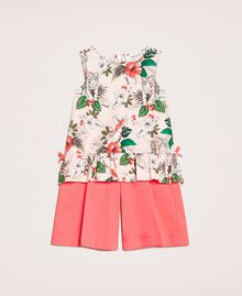 """Printed top and cropped trousers Two-tone Savannah Pink Print / """"Calypso Coral"""" Red Child 201GB2330-01"""