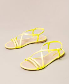 Fluorescent faux leather flat sandals Fluorescent Fuxia Woman 201MCT010-01