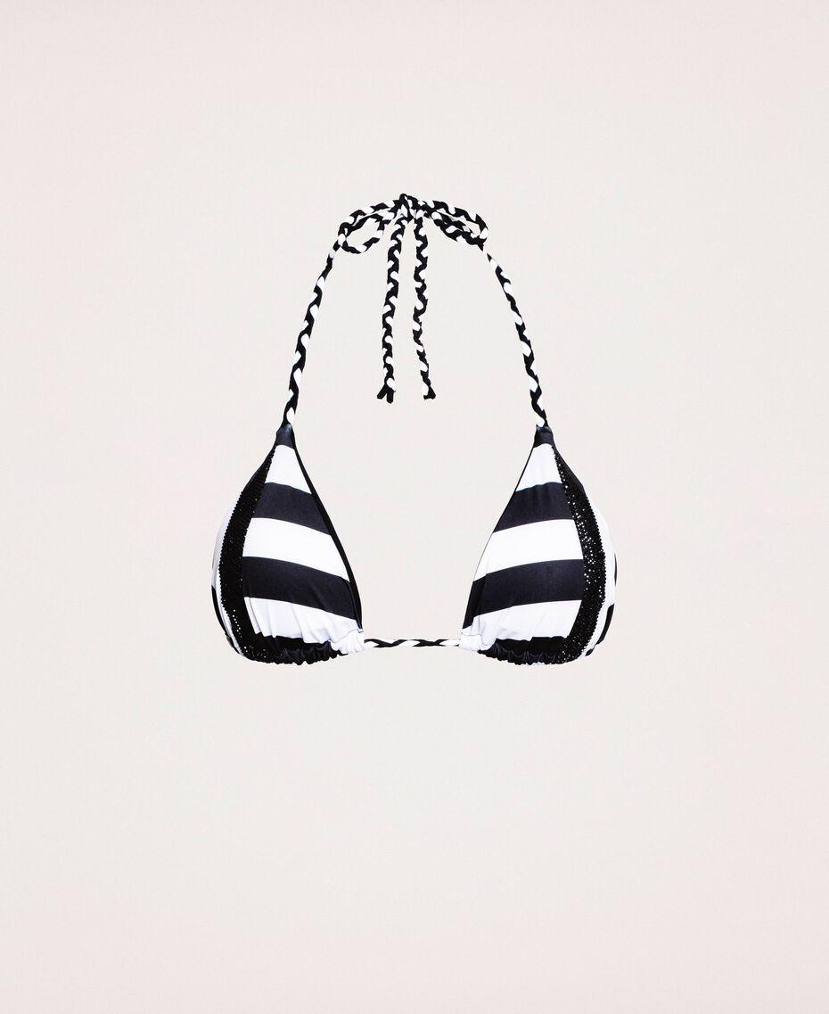 Soutien-gorge de bain triangle avec bandes en strass Bicolore Noir / Blanc Optique Femme 201LMMF22-0S