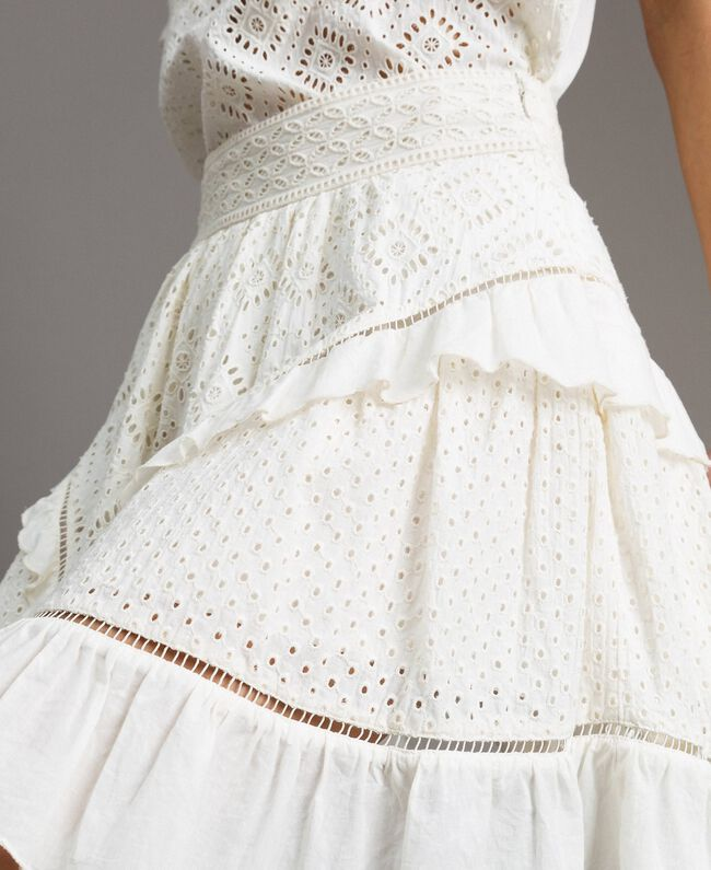Minijupe évasée avec broderie anglaise Blanc Neige Femme 191TT2046-04