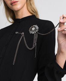 Broche avec bouton et franges de strass Argent Nickel Free Femme 192TA437C-0S