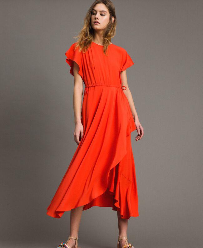 160ce258257 Robe longue en soie mélangée Rouge Grenadine Femme 191TT2079-01