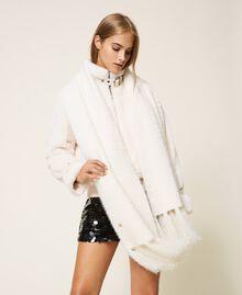 Mottled knit scarf Ivory Woman 202LI4ZSS-0T