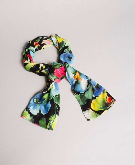 Floral print cotton and wool scarf