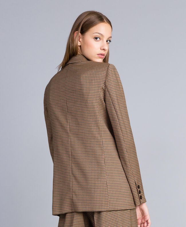 "Double-breasted wool blend jacket ""Burnt"" Orange Small Check Jacquard Woman TA821U-03"