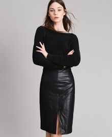 Faux leather mid-length skirt Black Woman 191TP2552-01