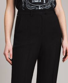 Pantalon en toile naturelle Noir Femme 191TT2295-04