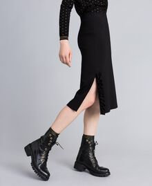 Mid-length Milan stitch skirt with ruches Black Woman PA821W-02
