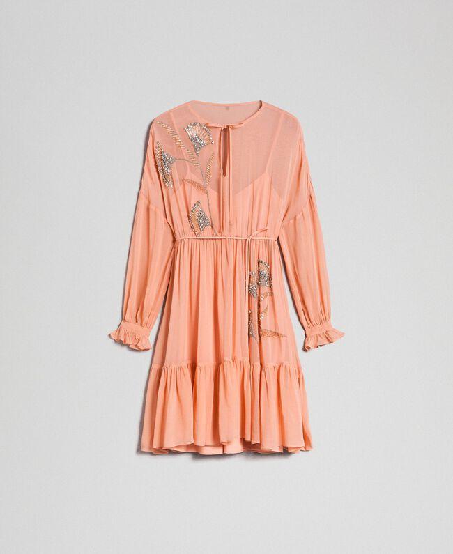 Robe en crêpe georgette avec broderies florales Rose Mousse Femme 192TP2160-0S