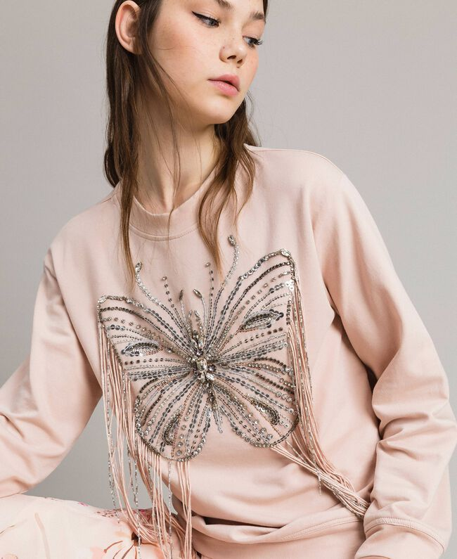 Butterfly embroidery and fringe sweatshirt Bud Pink Woman 191TP2590-01
