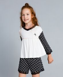 Polka dot jersey pyjamas Bicolour Black / Black Polka Dot Print Child GA828D-02