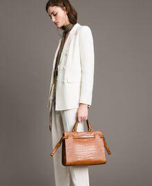 Crocodile print shopper Leather Brown Woman 191TA7122-0S