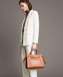 Shopper mit Krokoprint Leder Frau 191TA7122-0S