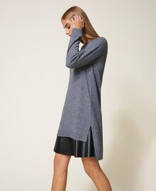 Vestido de punto con combinación Gris Mélange Medio Mujer 202ST3221-02