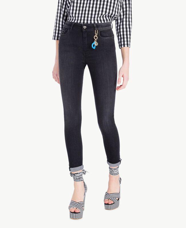 Skinny-Jeans Denimschwarz Frau JS82X1-01