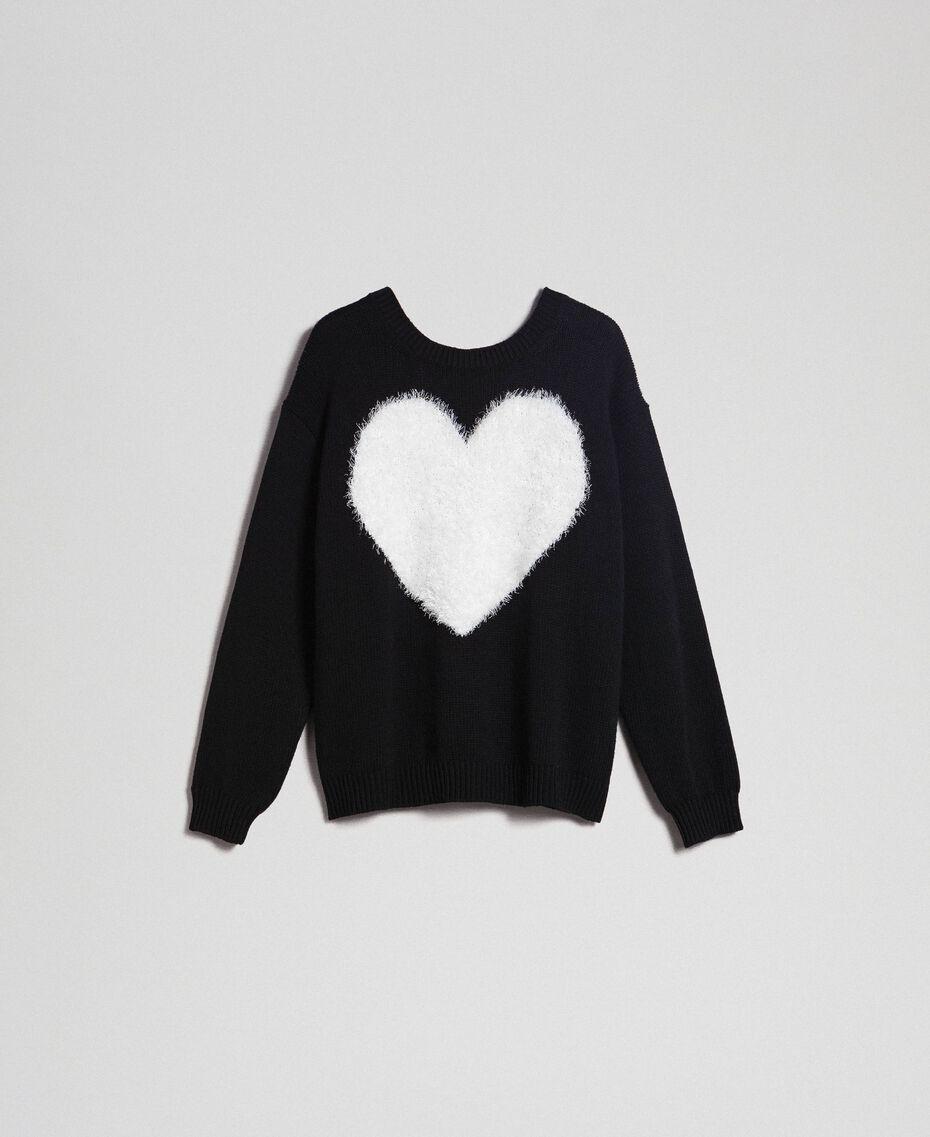 Pull-cardigan avec cœur Bicolore Noir / Blanc Neige Femme 192TP3320-0S