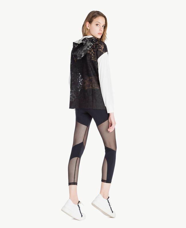 Sweat-shirt dentelle Bicolore Noir / Blanc Optique Femme LS89AA-04